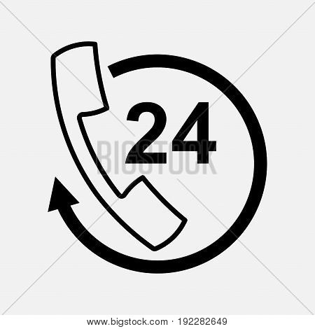 icon handset support communication 24 hours fully editable image