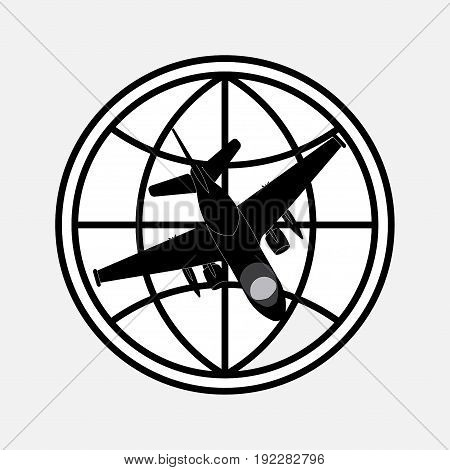 icon planet and plane flights around the world Journey fully editable image