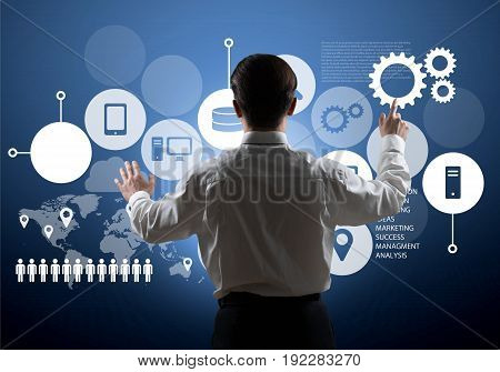 Business man work businessman chart back view competition