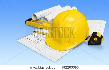 Yellow blue hat hard blueprint prints background