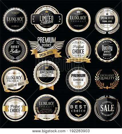Premium And Luxury Silver And Black Retro Badges And Labels Collection.eps
