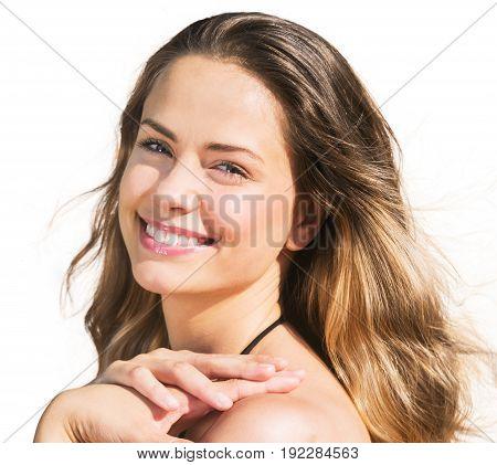 Young hair woman waving long fun white
