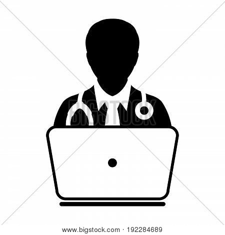 Doctor Icon Vector Online Consultation With Laptop Computer Avatar For Live Chat Advice For Patient