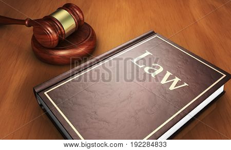 Law book and judge gavel on a wooden desk justice and legal system concept 3D illustration.