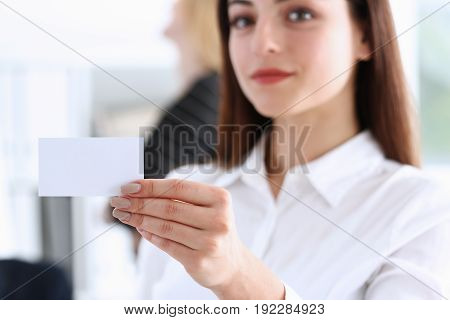 Smiling Businesswoman In Suit Hold In Hand Business Card