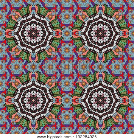 East Islam Indian motifs. Arabic Mandala pattern on background. Vintage vector decorative ornament. Ethnic texture. Colored. Orient symmetry lace fabric. Wedding holiday card.