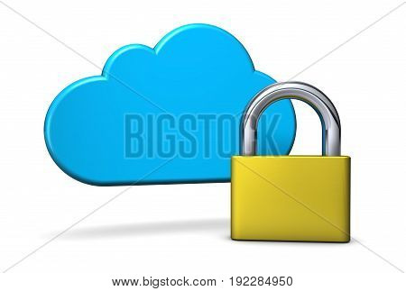 Cloud computing and digital network security concept 3D illustration on white background.