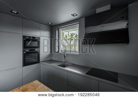 Functional Kitchen With Gray Cupboards