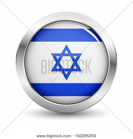 Israel icon silver glossy badge button with Israeli flag and shadow vector EPS 10 illustration on white background.