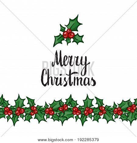 Merry Christmas. Hand Drawn Vector Design Element