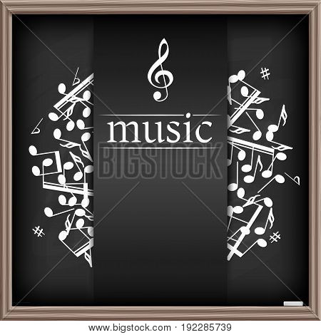 Music banner with shadow. Musical background. Place for your text. Graphic design element for  web, flyers, prints. Abstract vector illustration.
