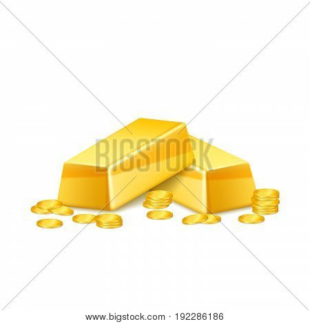 Gold bars with coins, isolated. Vector illustration.