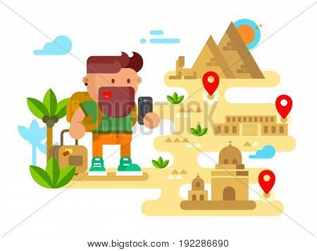 Man travels around the world. Trip and tourism, holiday tourist, vacation summer, flat vector illustration