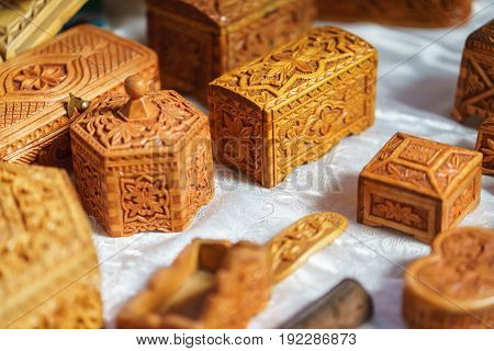classic wooden caskets carved. wood beautiful boxs