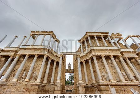 Front view ultra wide angle of The Roman Theatre and proscenium in Merida, Extremadura, Spain
