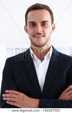 Handsome arab businessman portrait in black suit