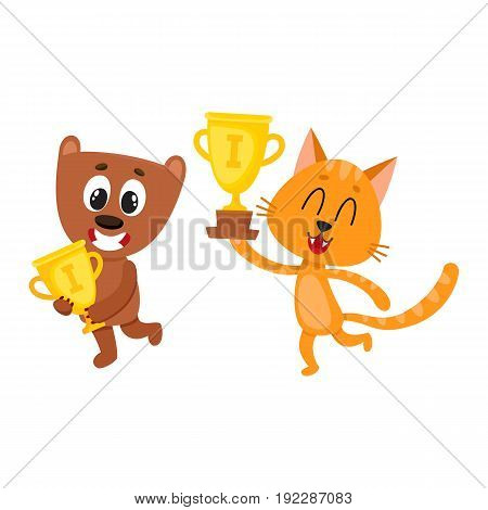 Cute little teddy bear and red characters, champions holding golden winner cups, cartoon vector illustration isolated on white background. Little baby bear and cat animal champions with winner cups