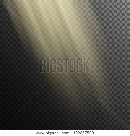Falling rays of light on transparent background.