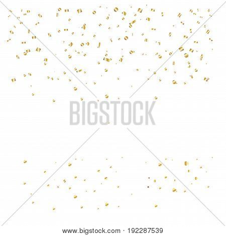 Gold confetti and sparkles isolated on white background. Festive element pattern. Golden Foil texture. Vector template. Christmas holiday decoration
