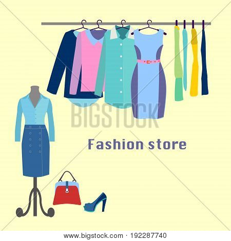 Clothing store. Boutique indoor Fashion store. Flat design vector illustration. Clothes on hangers. Clothing store.