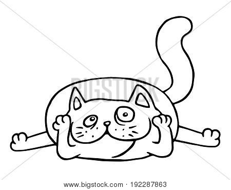 Cartoon admires cat. Vector illustration. Black and white isolated animal character in love.