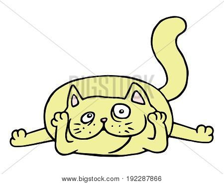 Cute yellow ?at in love. Vector illustration. Funny cartoon fur animal character.