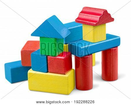 Wooden stack toy wood blocks game green