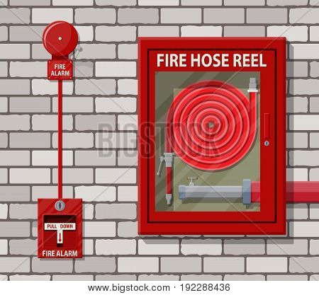 Water hose to extinguish the fire in cabinet and alarm system at brick wall. Fire equipment. Vector illustration in flat style