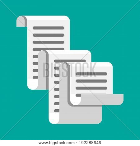 Receipt icon. Paper invoice. Total bill. Vector illustration in flat style