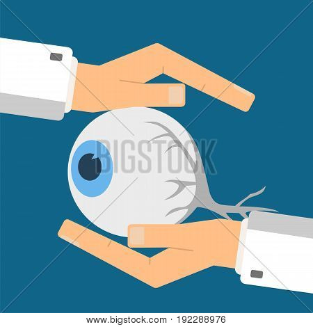 Healthcare concept. Doctor's hands protect eye. Vector illustration.