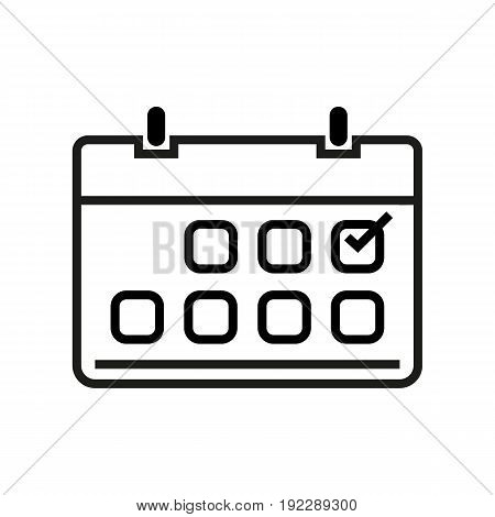 Vector illustration of calendar with the mark on it on white background