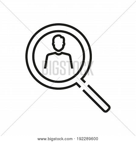 Universal vector illustration of the loupe with the focus on a man on white background.