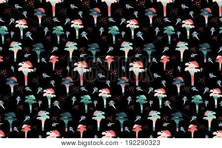 Magic abstract mushrooms pattern seamless . Flat style for web vector illustration