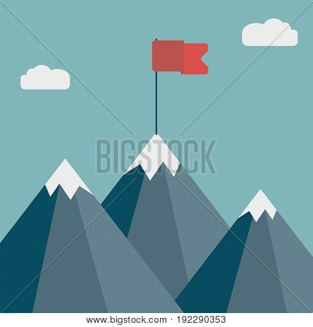 Flag on mountain. Goal achievement. Business success concept. Winning of competition or triumph design. Vector illustration.