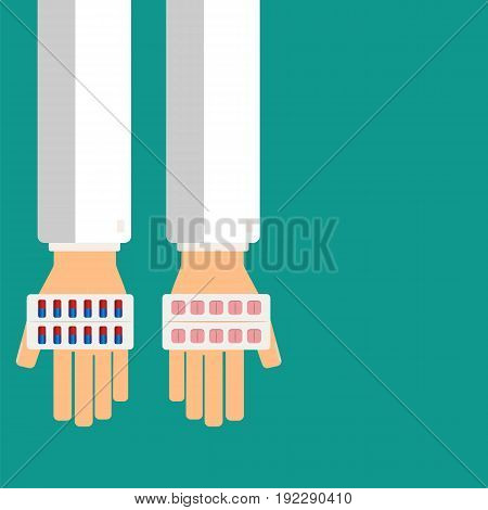 Doctor's hands holding pills in blister for his patient. Healthcare concept. Vector illustration.