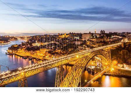 Beautiful evening view of Dom Luis I Bridge in Porto. Portugal
