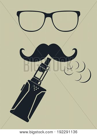 Vape logo. Hipster smoking vaporizer. Vector. illustration