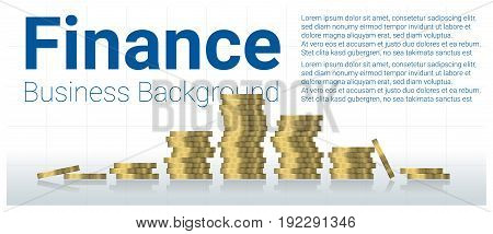 Business and finance concept background with stacks of coins , vector , illustration