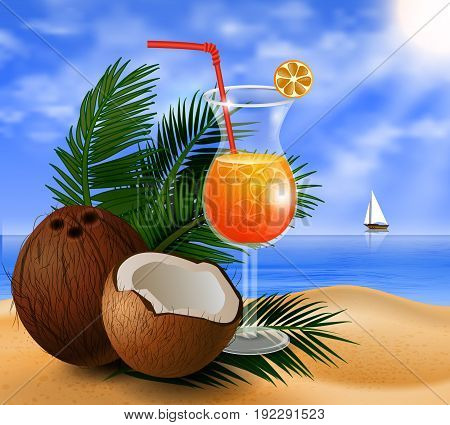 Coconut tropical nut fruit with cut vector illustration on a beach background with tropical palm leaves and an orange juice glass