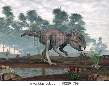 Archaeoceratops dinosaur looking for food cycaeodia to eat in the desert by day - 3D render