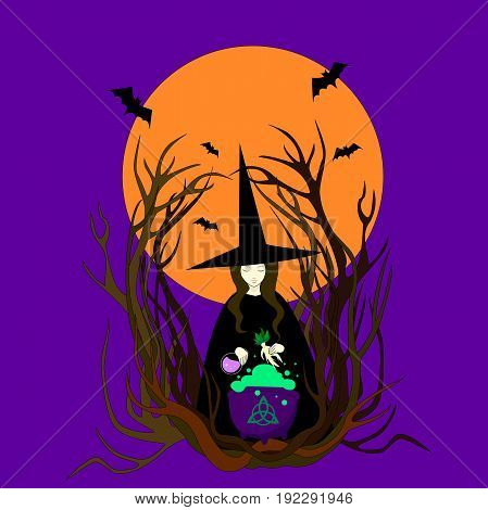 Witch hat preparing a magical potion. Halloween bats full moon mandrake cauldron. Vector illustration of a night walpurgis. Beautiful sorceress isolated against background full moon conjures.