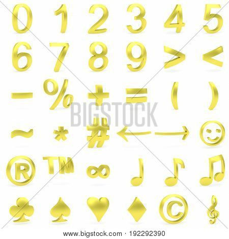 Golden curved 3D numbers and symbols rendered with soft shadows on white background