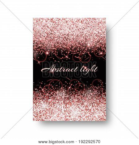 Bokeh background with twinkle lights. Particles abstract on a black backdrop.