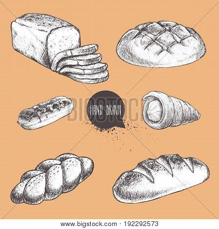 Vintage hand drawn sketch fresh style bakery set. Bread cream roll tube eclair bun loaf sliced bread.