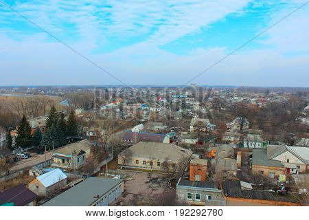 Beautiful panorama of Kozelets town from above in Ukraine