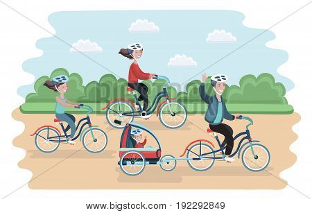 Vector illustration of family ride the bike in the park. Healthy leisure and freedom riding bike. Man, woman, boy and girl pedaling on summer time vacation.