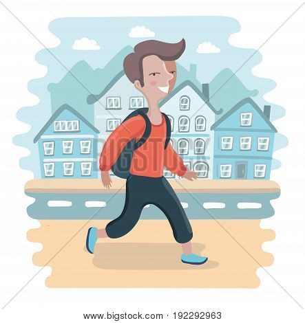 Vector cartoon illustration of school boy with a backpack walking on the streets. Town landscape behind him on background