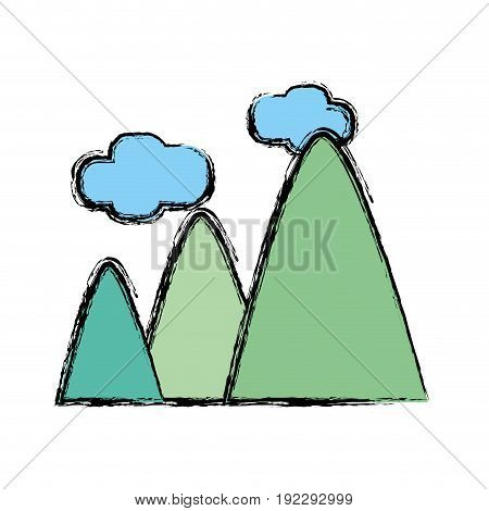 mountains with clouds and natural landscape vector illustration