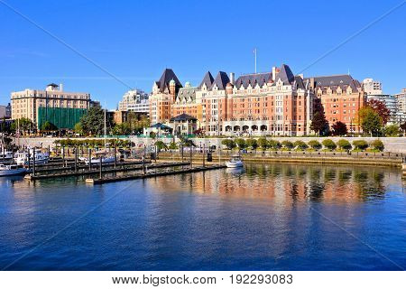 Beautiful harbour view with reflections Victoria Vancouver Island BC Canada