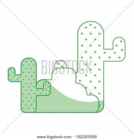 silhouette cactus plan with trees and ecological element vector illustration